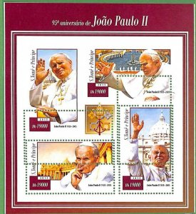 A3505-Sao Tome & Principe ERROR MISSPERF 2015 PEOPLE religions POPE John Paul II
