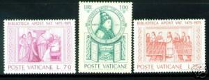 VATICAN Scott 582-4 MNH** 1975 Apostolic Library Set CV$1