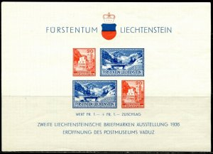 LIECHTENSTEIN Sc#B14 1936 Postal Museum Souvenir Sheet OG Mint NH