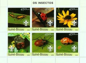 Guinea-Bissau MNH S/S Lady Beetles Insects 2003 6 Stamps