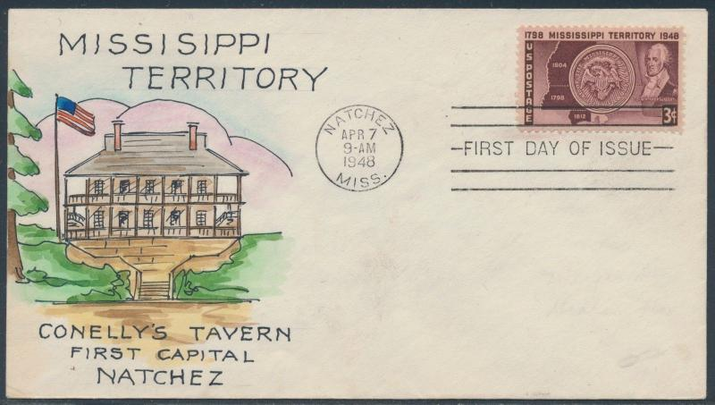 #955 MISSISSIPPI TERRITORY ON MAE WEIGAND CACHET FDC HAND PAINTED BS6056