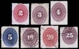 Mexico Scott 175-178, 180, 182-183 (1886) Used/Mint H F-VF, CV $163.70