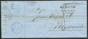GERMANY BRITISH POSTAL AGENCY HAMBURG 1859 entire to Scotland..............59342