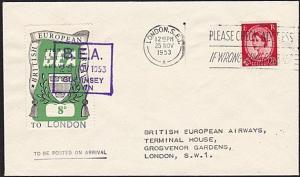 GB 1953 BEA 8d airmail stamp on flown cover Guernsey to London..............8992