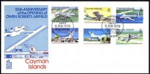 Cayman Islands Sc# 420-425 FDC 1979 2.5 Owen Roberts Airfield 25th