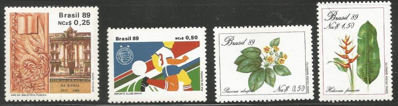 BRAZIL 2162, 2168, 2170, 2226, MNH, 4 NON-RELATED, INDIVIDUAL STAMPS, 1989