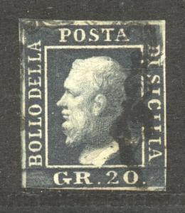 Italian States, Sicily, 1859 Scott # 17 a, the 20 GR. slate black, thin, used