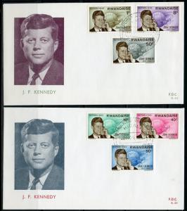 RWANDA  1965  JOHN F. KENNEDY MEMORIAL  SET FIRST DAY COVERS