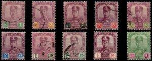 MALAYA JOHORE SG78/87 1910 DEFINITIVE SET OF 10 USED