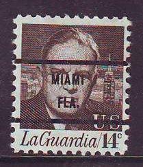 Miami FL, 1397-71 Bureau Precancel, 14¢ LaGuardia
