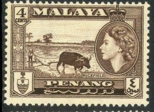 MALAYA PENANG 1957 QE2 4c RICEFIELD Pictorial Sc 47 MNH