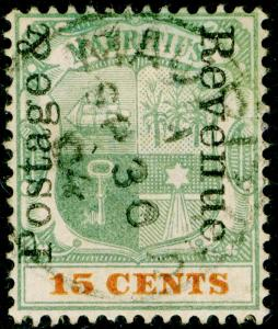 MAURITIUS SG159, 15c green & orange, FINE USED.