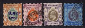 $Hong Kong Sc#91-4 used, F-VF, partial set, Cv. $29.50