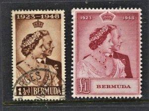 STAMP STATION PERTH Bermuda #133-134 Silver Wedding MLH/FU CV$48.00