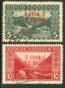 BOSNIA AND HERZEGOVINA 1914 WIDE 4 SEMI POSTAL Set Sc B1a-B2a CTO Used