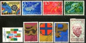 LIECHTENSTEIN Sc#420-3, 425-429 1967 Five Complete Sets Used