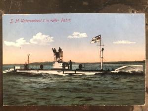 1915 Borkum Germany Feldpost Postcard Cover To Augsburg U Boat 1 Full Ride WWI