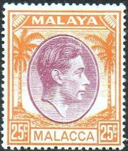 Malacca 1949 25c purple and orange MH