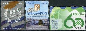 Cyprus Stamps 2020 MNH Anniversaries & Events EOKA Melathron Agoniston 3v Set