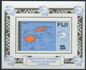 Fiji 513,MNH.Michel 503 Bl.5. UPU-110 Congress,1984.Map.