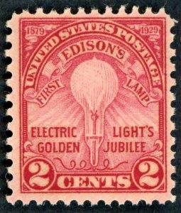#655 – 1929 2c Edison's First Lamp, rotary.  MNH OG