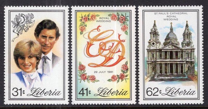 Liberia MNH 897-9 Royal Wedding Princess Diana 1981 SCV 4.05