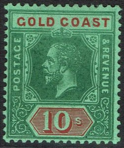 GOLD COAST 1913 KGV 10/- GREEN AND RED ON GREEN WMK MULTI CROWN CA