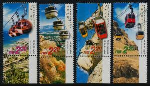 Israel 1479-82 + tabs MNH Cable Cars