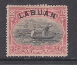 LABUAN, 1894 8c. Malay Dhow, perf. 14 1/2-15, heavy hinged mint.