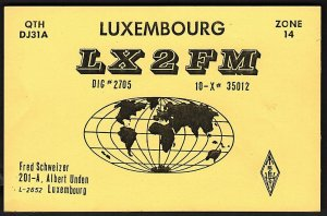 QSL QSO RADIO CARD LX2FM,Fred Schweizer,Pic of Globe/Earth, Luxembourg (Q2715)