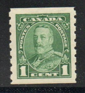 Canada Sc  228 1935 1 c green George V coil stamp mint NH