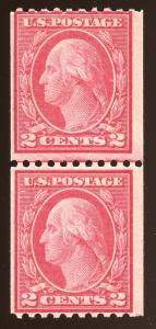 US #450 ~1915 MNH Type III Rot Perf 10H Line Pair w/'Clean' 2016 PSE Certificate