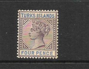 TURKS ISLANDS  1891-95   4d   QV  MH    SG 71