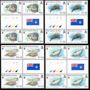 BAT WWF Crabeater Seal 4 Gutter blocks SG#506-509 SC#505-508 MI#505-508 CV£50+