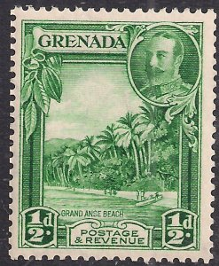 Grenada 1934 - 36 KGV 1/2d Green Grand Anse Beach Umm SG 135a ( 657  )