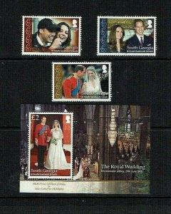 South Georgia: 2011 Royal Wedding, Prince William,  MNH set