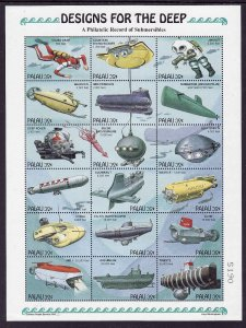 Palau-Sc#372-Unused NH sheet-Submarine- Scuba-Designs for the Deep-1995-