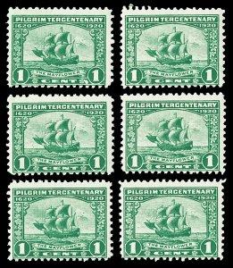 Six Scott 548 1920 1c Pilgrim Issue Mint Fine NH Cat $55.50
