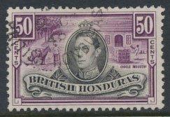 British Honduras  SG 158 SC # 123  Used  Deep purple  shade please see scans