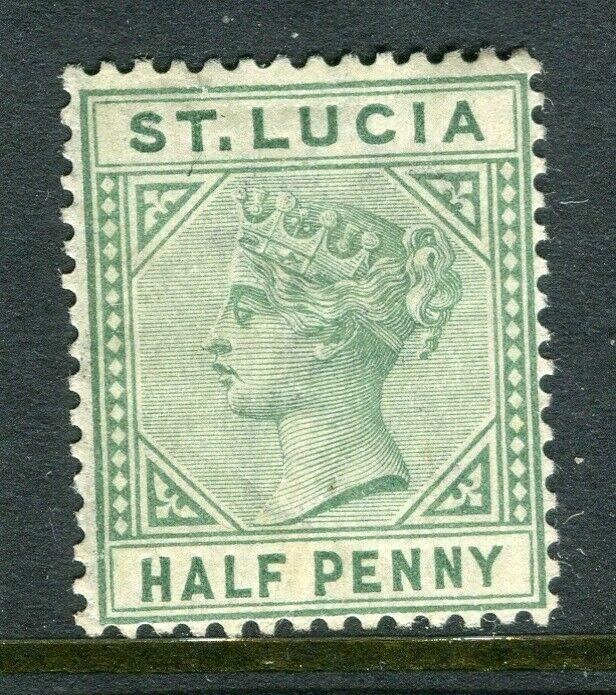 ST.LUCIA; 1880s early QV Crown CA issue Mint hinged 1/2d. value, Shade