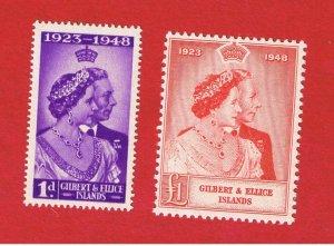Gilbert & Ellice Islands #54-55 MNH OG Wedding  Free S/H
