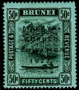 BRUNEI SG58, 50c black/blue-green, M MINT. Cat £45.