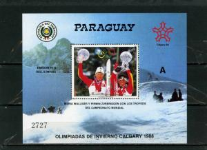 PARAGUAY 1987 Sc#C684 WINTER OLYMPIC GAMES CALGARY S/S MNH