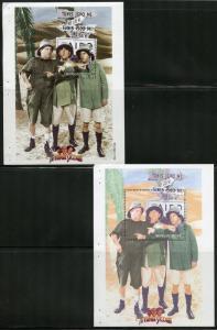 MONGOLIA THREE STOOGES SOUVENIR SHEET SCOTT#2338  SET OF PROGRESSIVE COLORS RARE