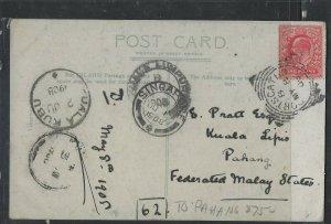 MALAYA  PAHANG COVER (P0605B) 1908 INCOMING PPC FROM ENGLAND TO KUALA LIPIS