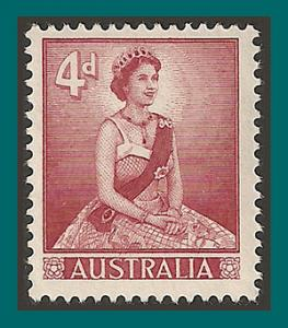 Australia 1959 Queen Elizabeth II, 4d Type I, MNH #318,SG313