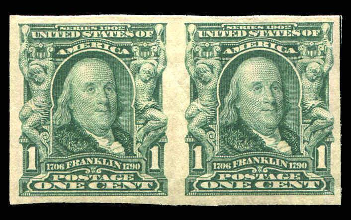 US 314 1906 Imperf Franklin Pair Mint Never Hinged  Very Fine