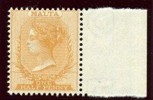 Malta 1884 QV ½d red-orange superb MNH. SG 19. Sc 7.