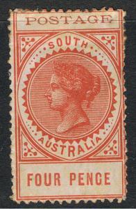 SOUTH AUSTRALIA 1902 - 04 4d ORANGE LONG TYPE - THIN POSTAGE