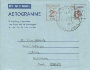 New Zealand 2d and 6d Meter 1959 Wellington C.I. N.Z. Air Mail Air Letter Air...